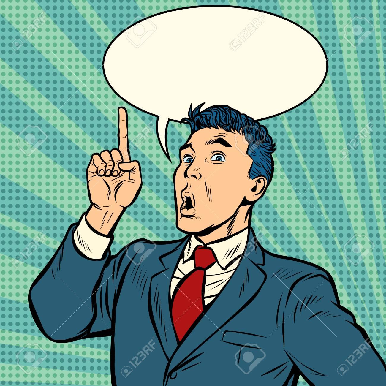 businessman surprise index finger up gesture. Pop art retro vector illustration vintage kitsch - 125833789