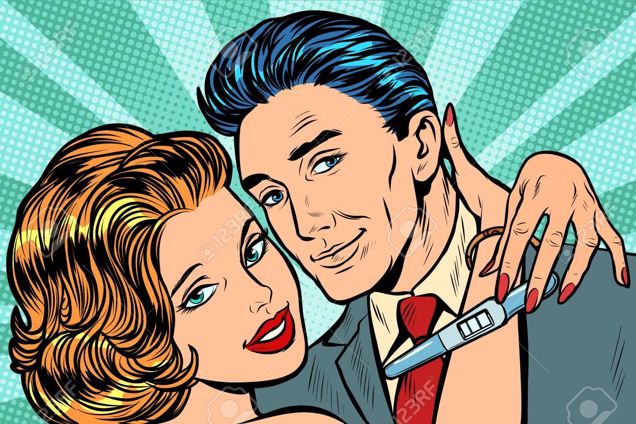 couple in love hug pregnancy test. Pop art retro vector illustration vintage kitsch - 125203477
