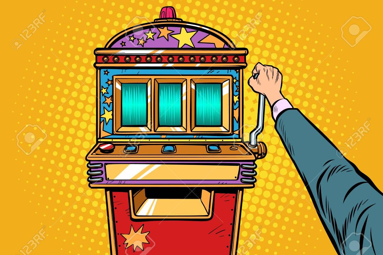 one-armed bandit slot machine. Pop art retro vector illustration vintage kitsch - 124789325