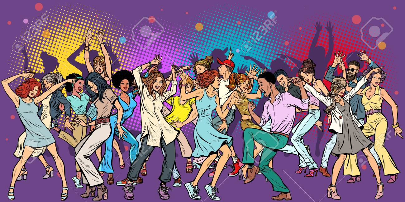 Party at the club, dancing young people. Pop art retro vector illustration vintage kitsch - 119597730