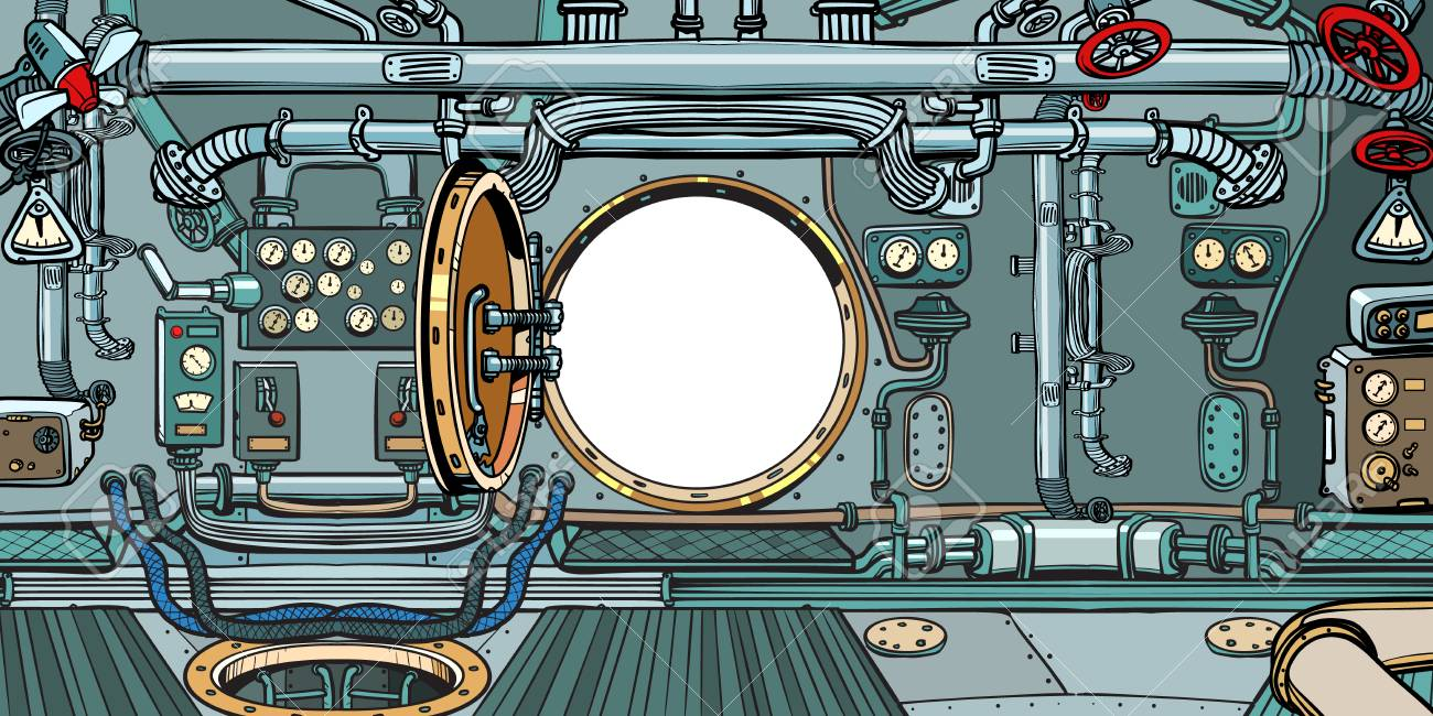 compartment or command deck of a submarine  Pop art retro vector
