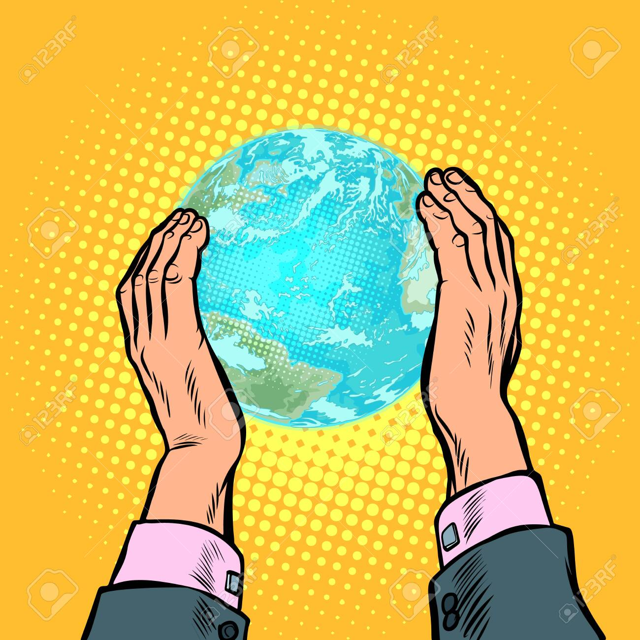 earth day ecology nature conservation planet humanity house. Pop art retro vector illustration vintage kitsch 50s 60s - 124011182