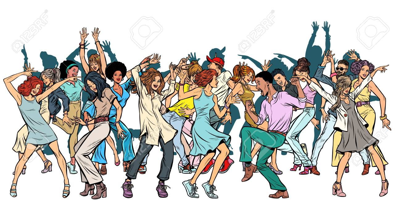 Group Of Dancing Youth Isolate On A White Background Pop Art