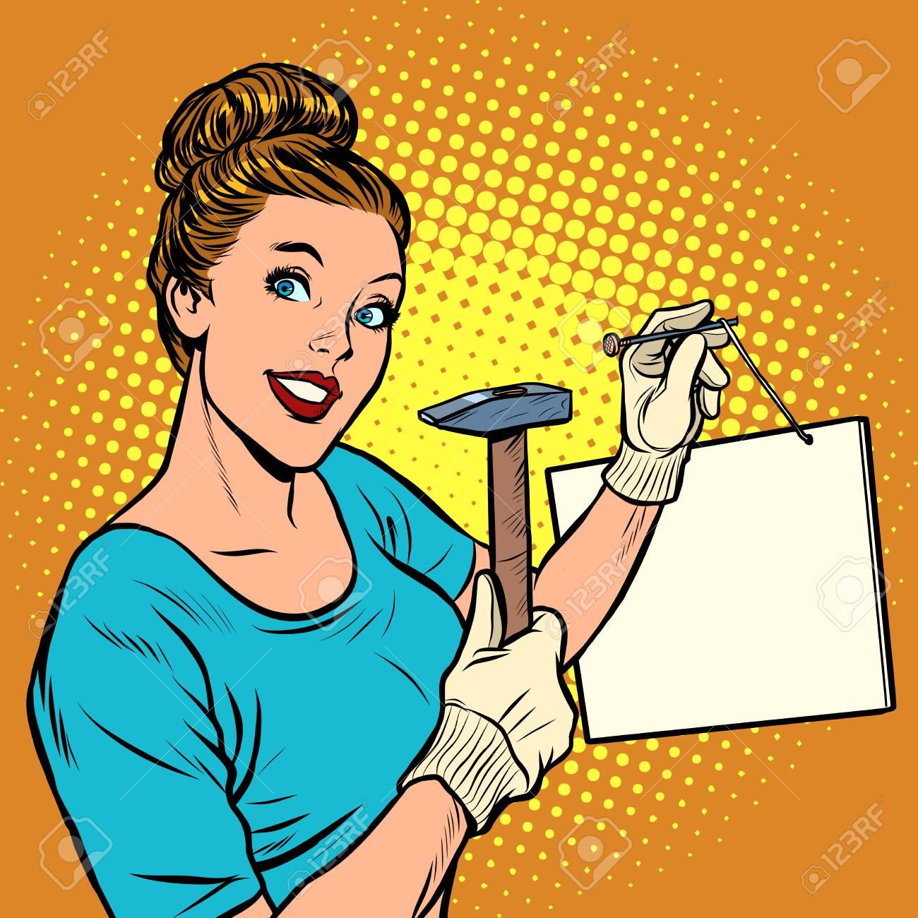 woman nails a sign information announcement. Pop art retro vector illustration vintage kitsch - 128167834