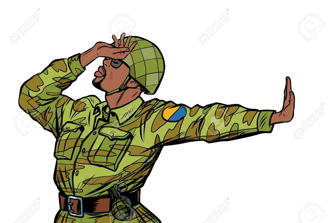 soldier in uniform shame denial gesture no  anti militarism pacifist