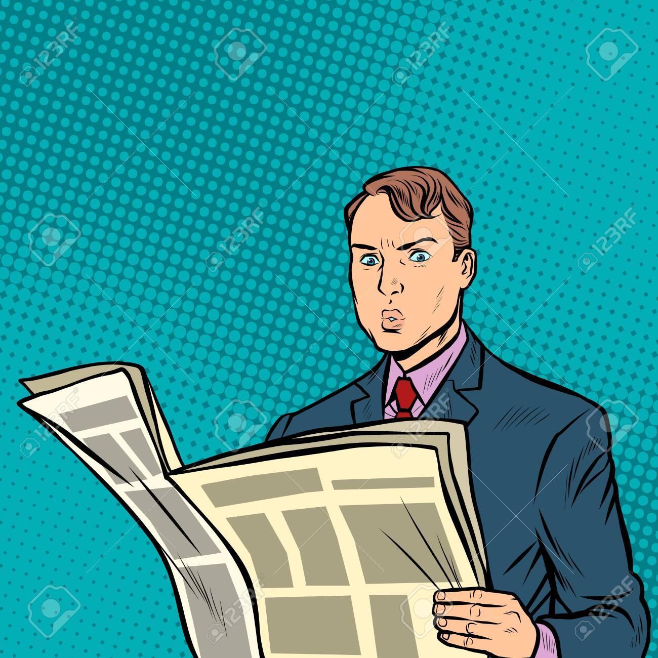 man reading a newspaper. Pop art retro vector illustration drawing - 128167924