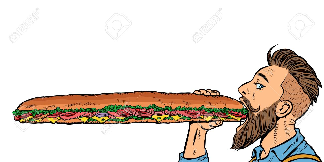 man eats a long sandwich. Pop art retro vector stock illustration drawing - 128167945