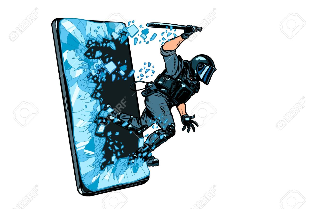 cyberpolice concept. the state monitors the Internet. arrest the hacker. censorship and prohibition of freedom of speech - 131397787