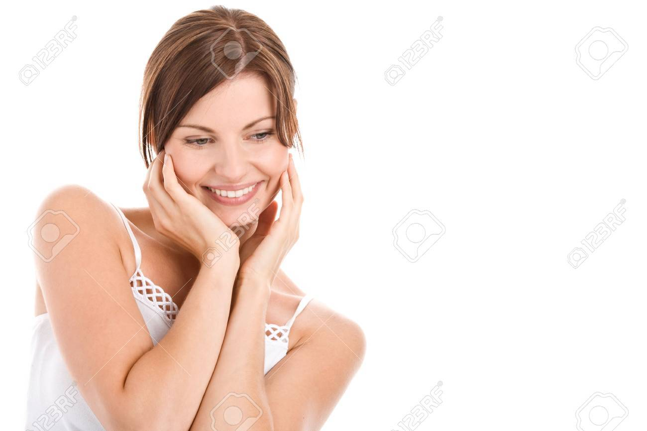 Portrait of beautiful woman touching her face Stock Photo - 5569730