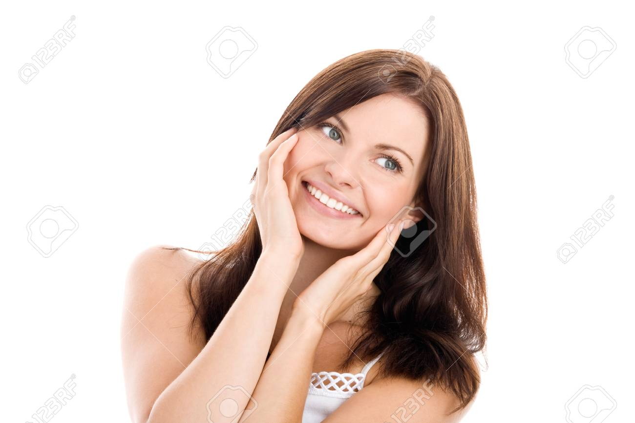 Portrait of beautiful woman touching her face Stock Photo - 5569733