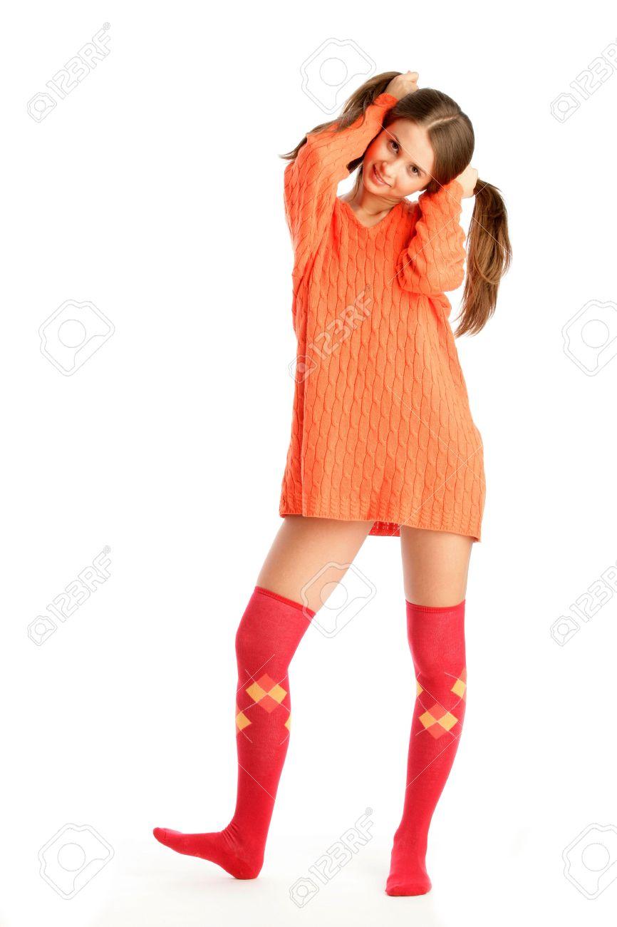 Woman wearing socks and sweater Stock Photo - 6545440