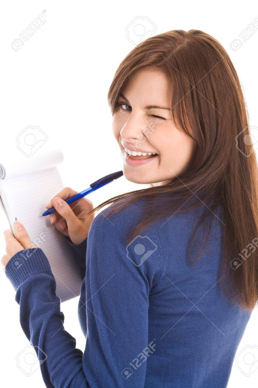 Woman does records by pen in notepad Stock Photo - 8367276