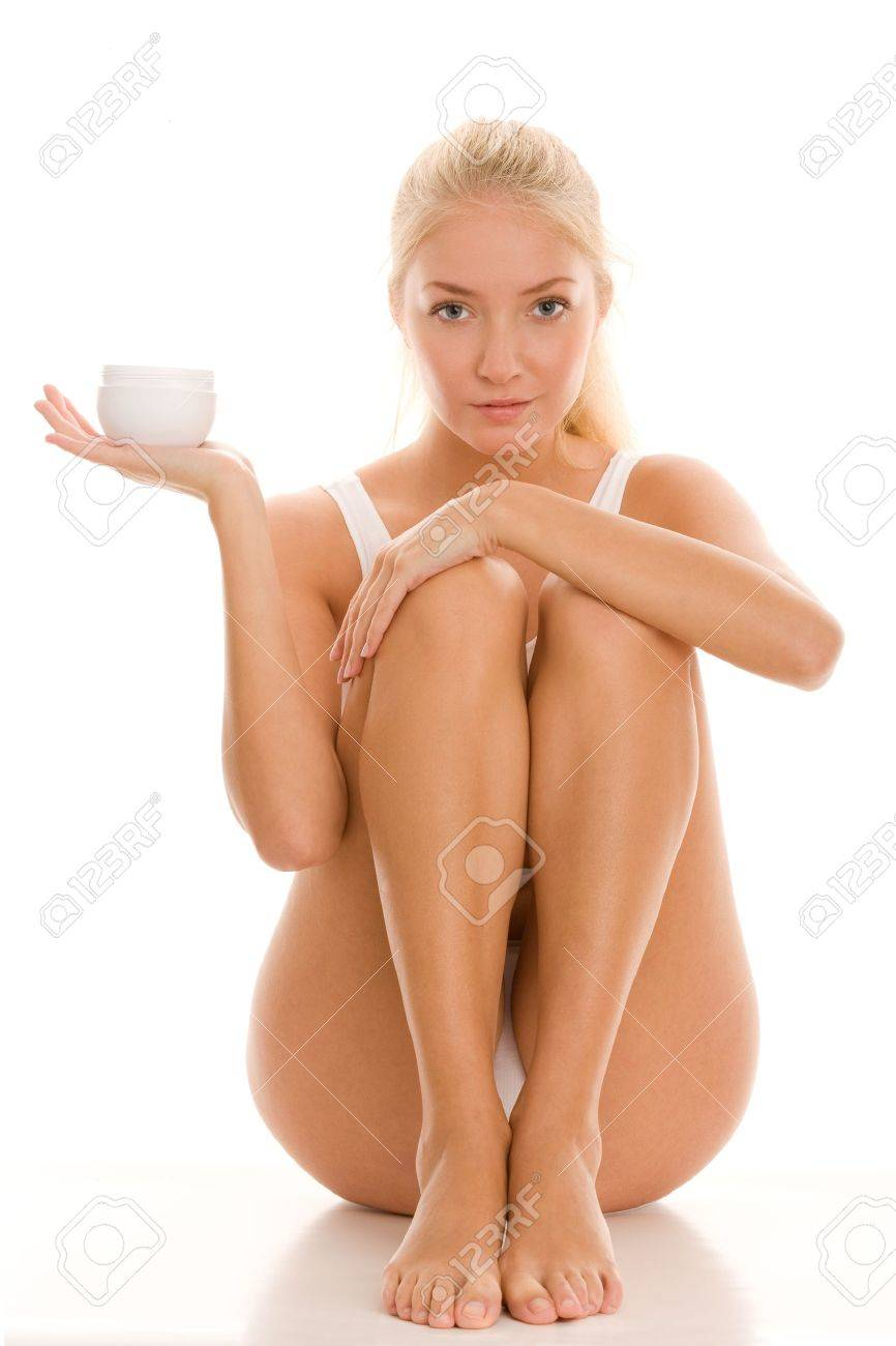 Young woman with jar of beauty cream Stock Photo - 16594721