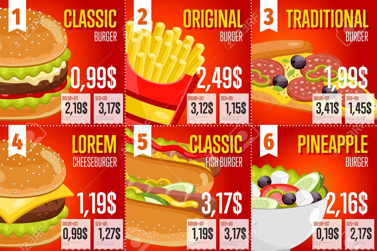 Fast Food Restaurant Menu Template Vector Illustration Elements Set Of Abstract Advertising Price Tags About