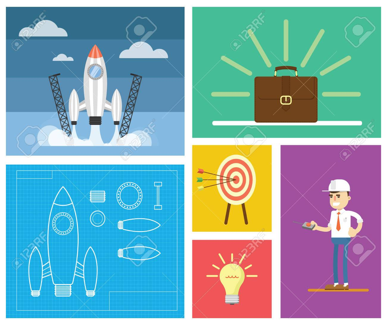 flat design modern illustration of start up new business ideas succed for website printed
