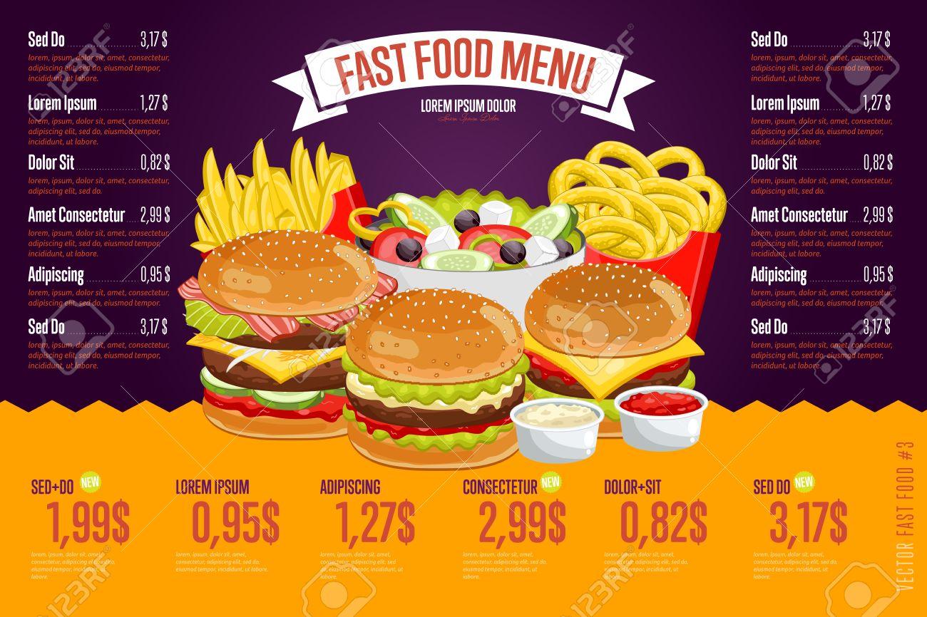 Fast Food Restaurant Menu Template Vector Illustration Elements ...