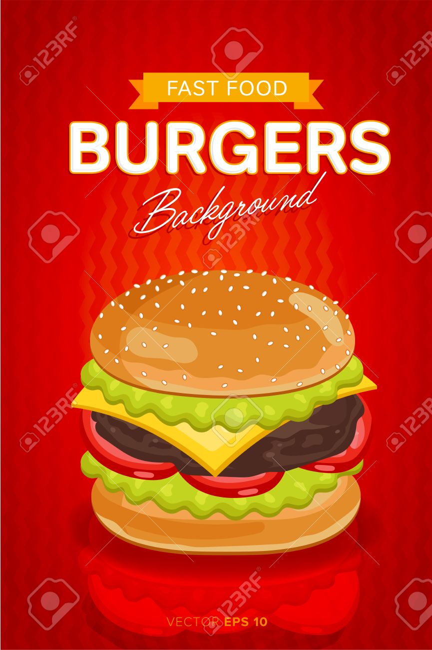 Cheeseburger Banner Design Template Fast Food Restaurant Menu