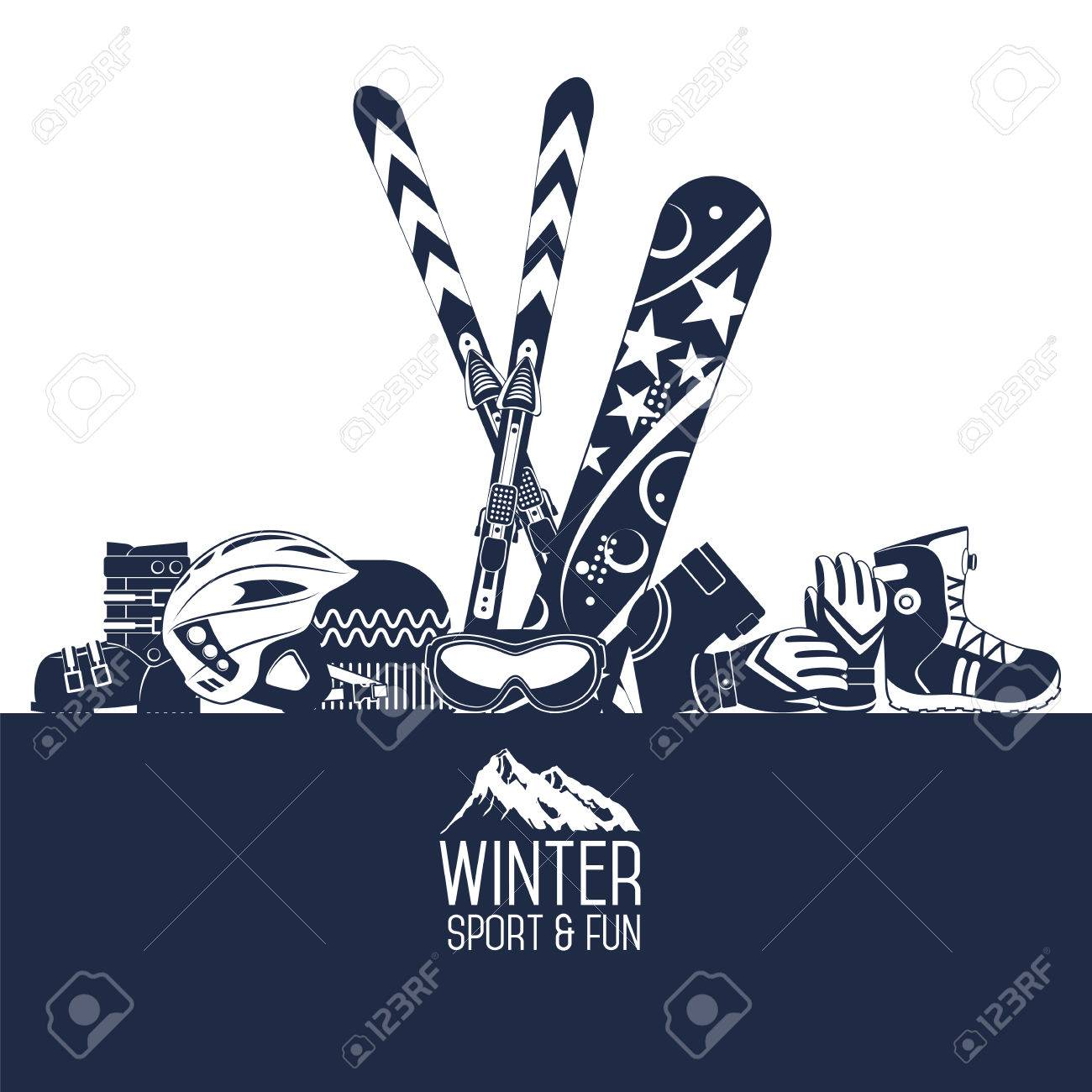 Ski Equipment Or Ski Kit. Extreme Winter Sports. Ski, Ski Camera ... for Camera Equipment Clipart  113cpg