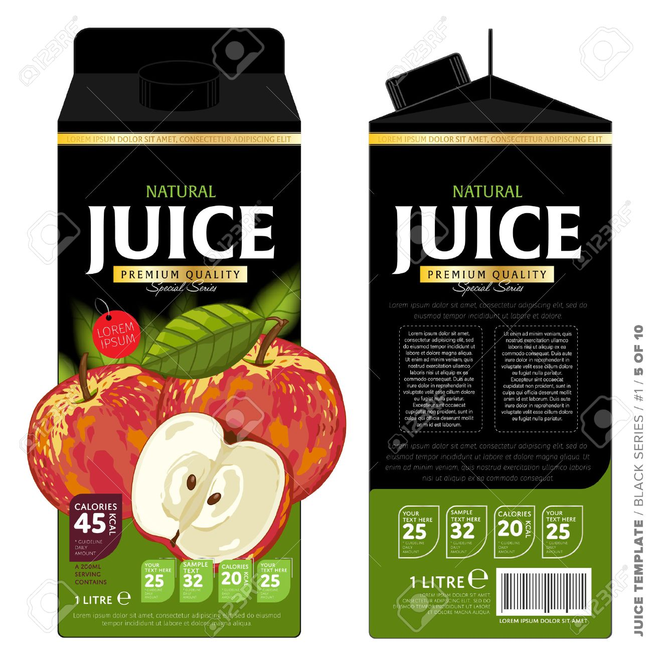 Template Packaging Design Apple Juice. Concept Design Of Fruit ...