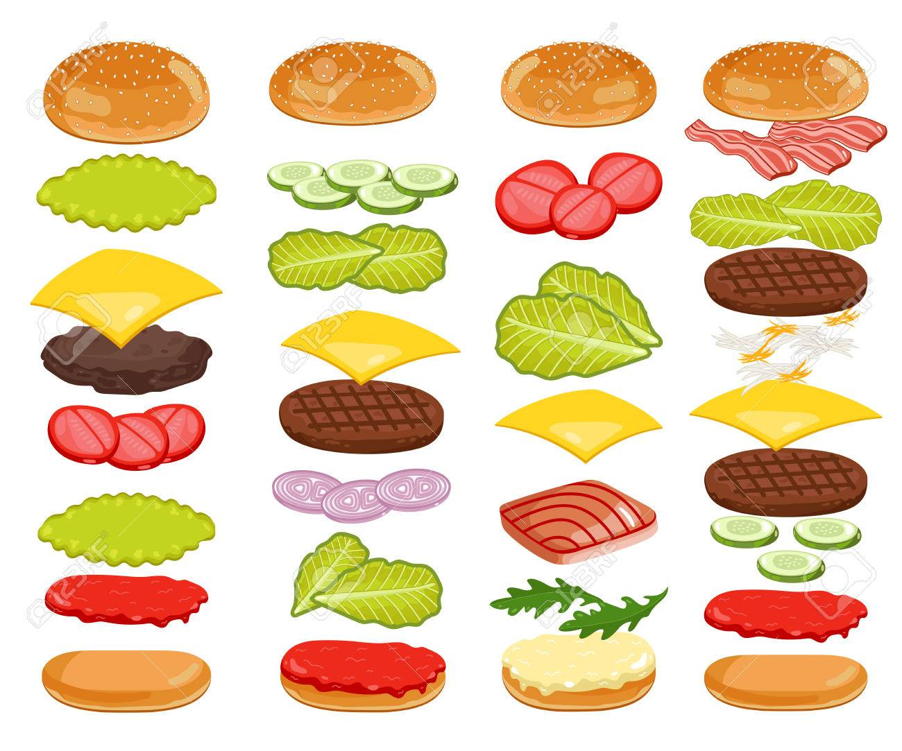 Burger isolated. Burger ingredients on white backgrounds. Bun, Cheese, Beef, Salad, Ketchup. Vector Burger Icon Set. - 51300488