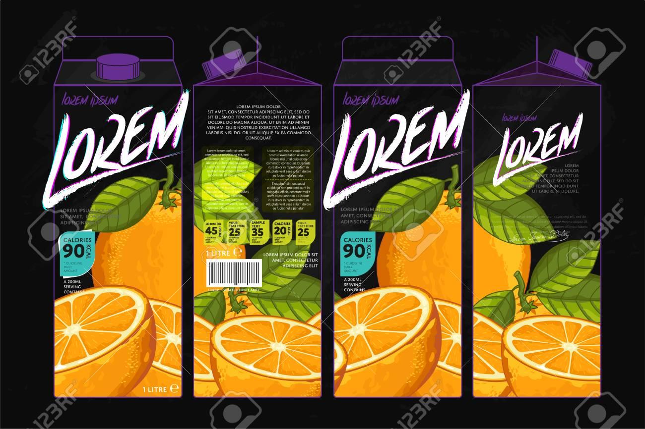 Plantilla De Envasado De Zumos De Naranja Diseño. Diseño De Concepto ...