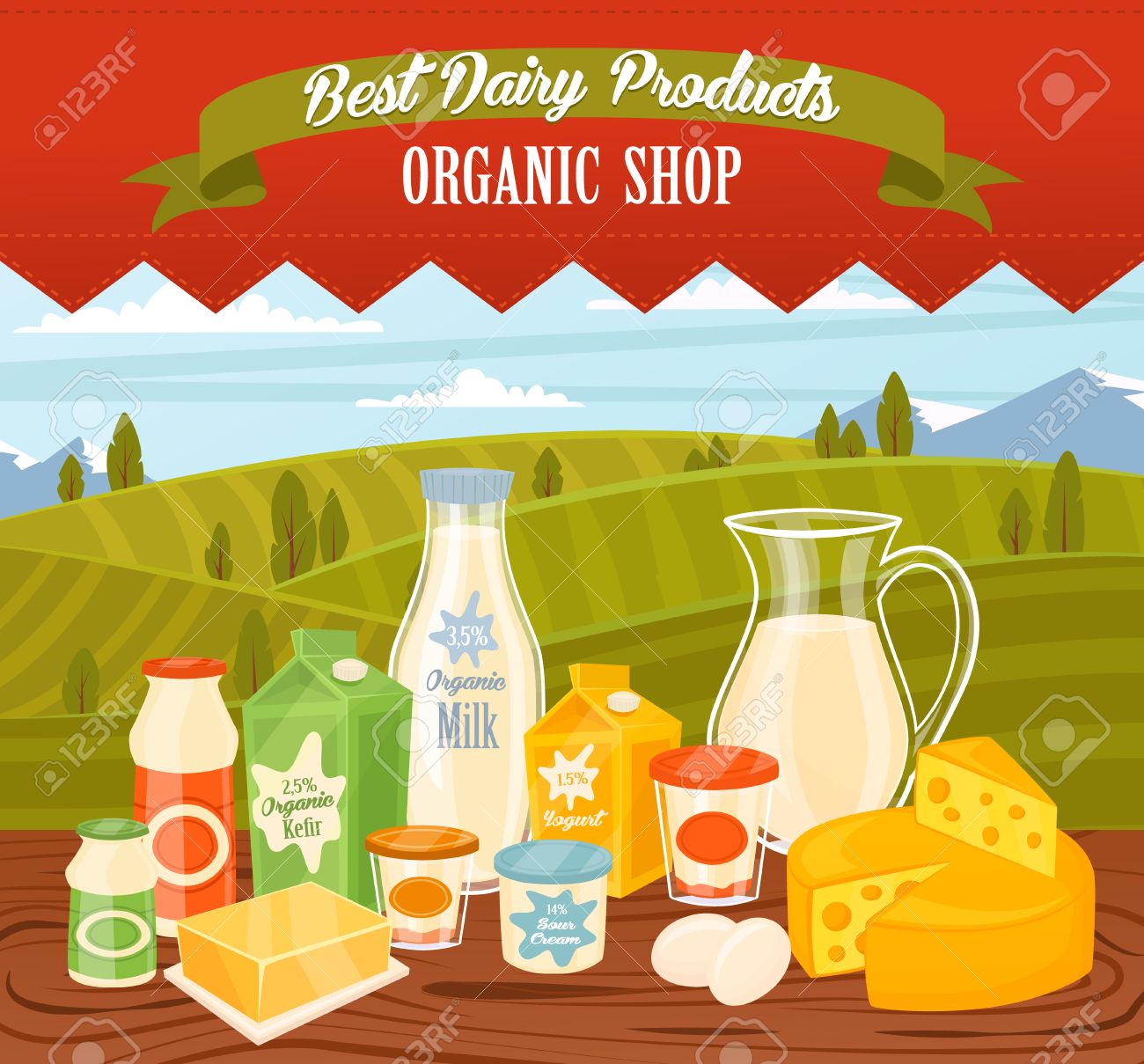 Dairy products on wooden table, dairy food. Different vector dairy products. Milk products, cheese, eggs, cream and other dairy food. Farmer food on background fields. Jug of milk and butter, yogurt. - 52105484