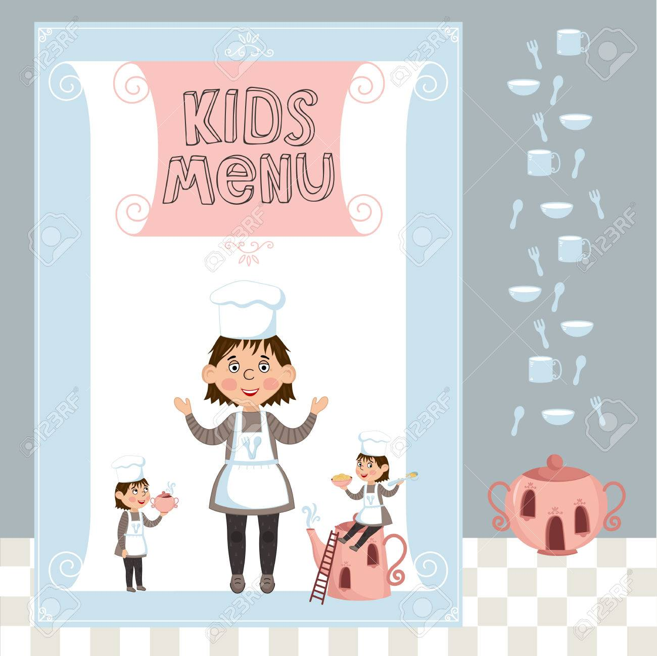 kids menu vector template cartoon design with funny characters