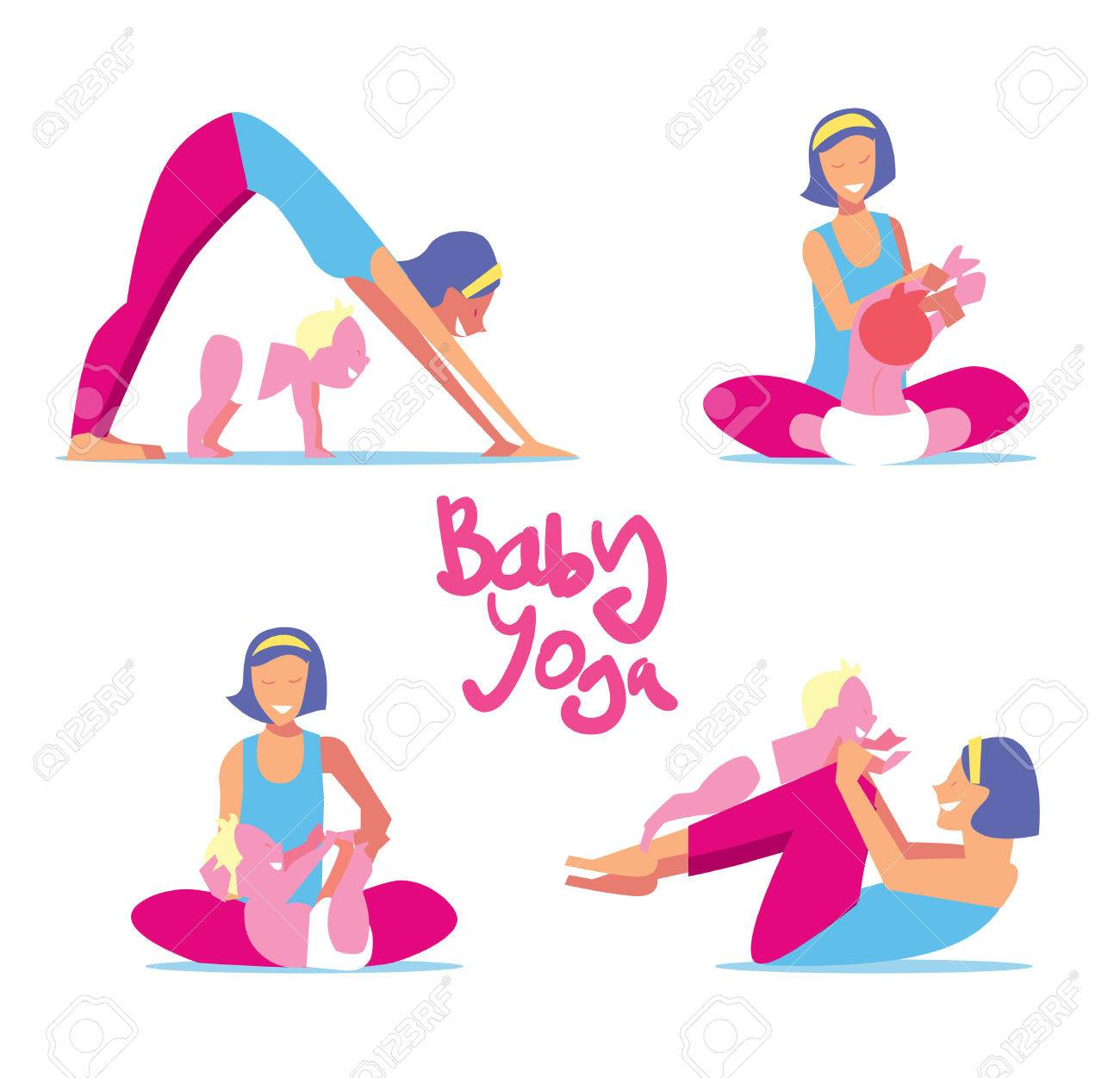 Baby Yoga Set Mom With A Child Engaged In Exercises Of For The