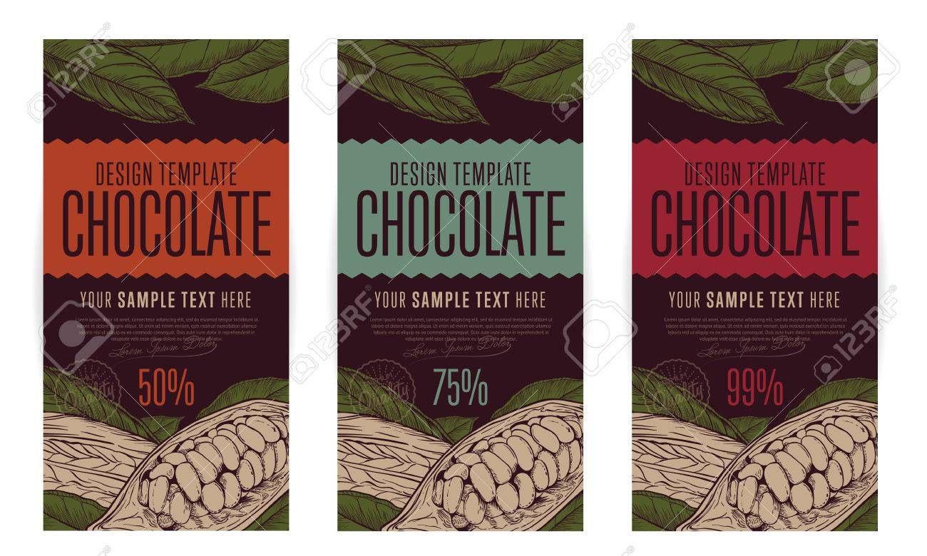 Chocolate packaging design template vector illustration. Abstract brand of chocolate. - 54291570