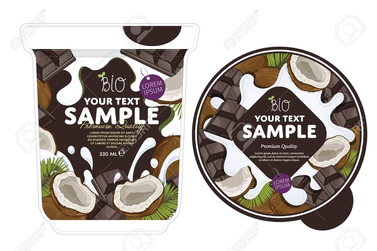 coconut chocolate yogurt packaging design template yogurt splash