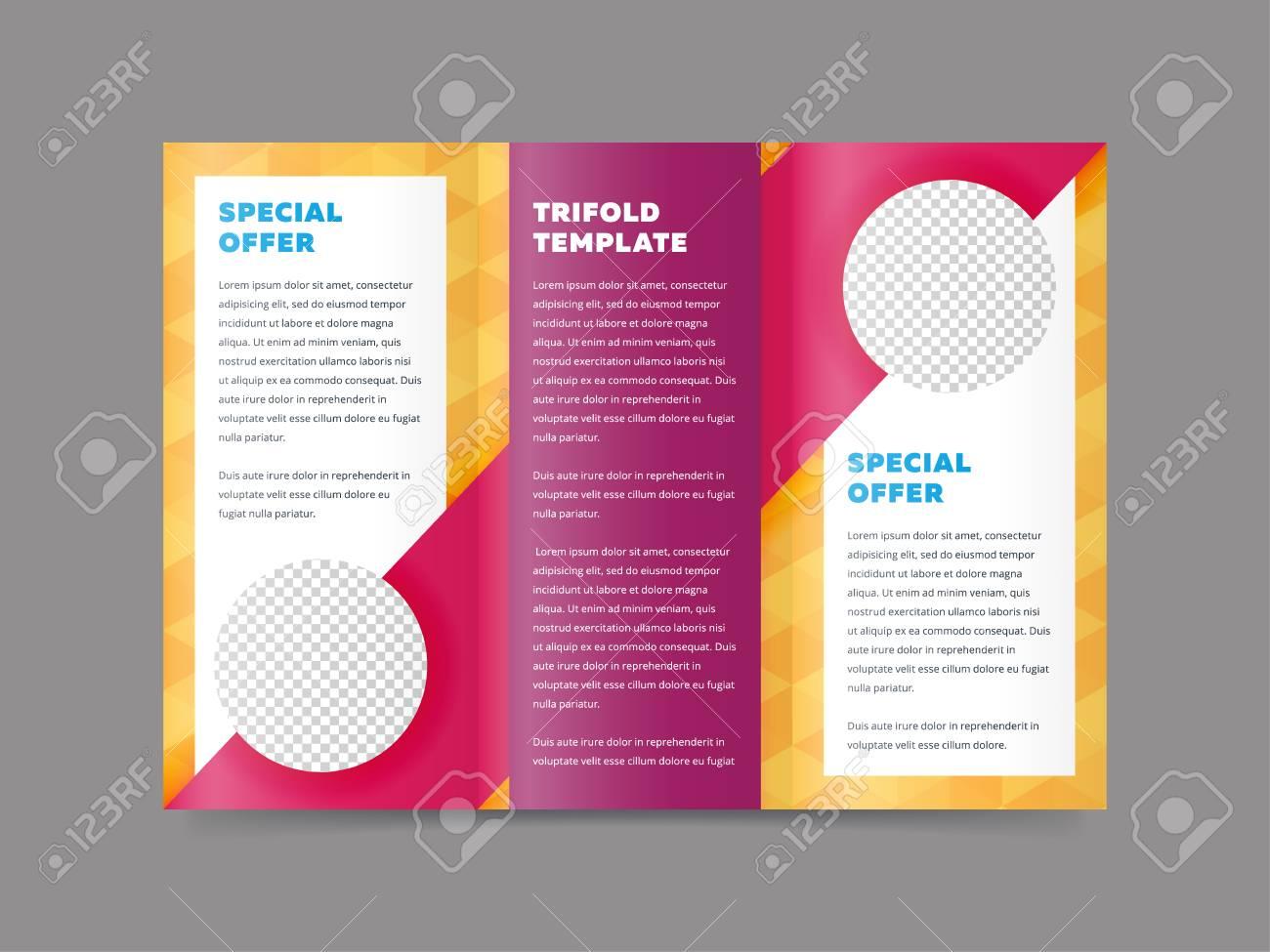 trifold business brochure design template vector flyer leaflet
