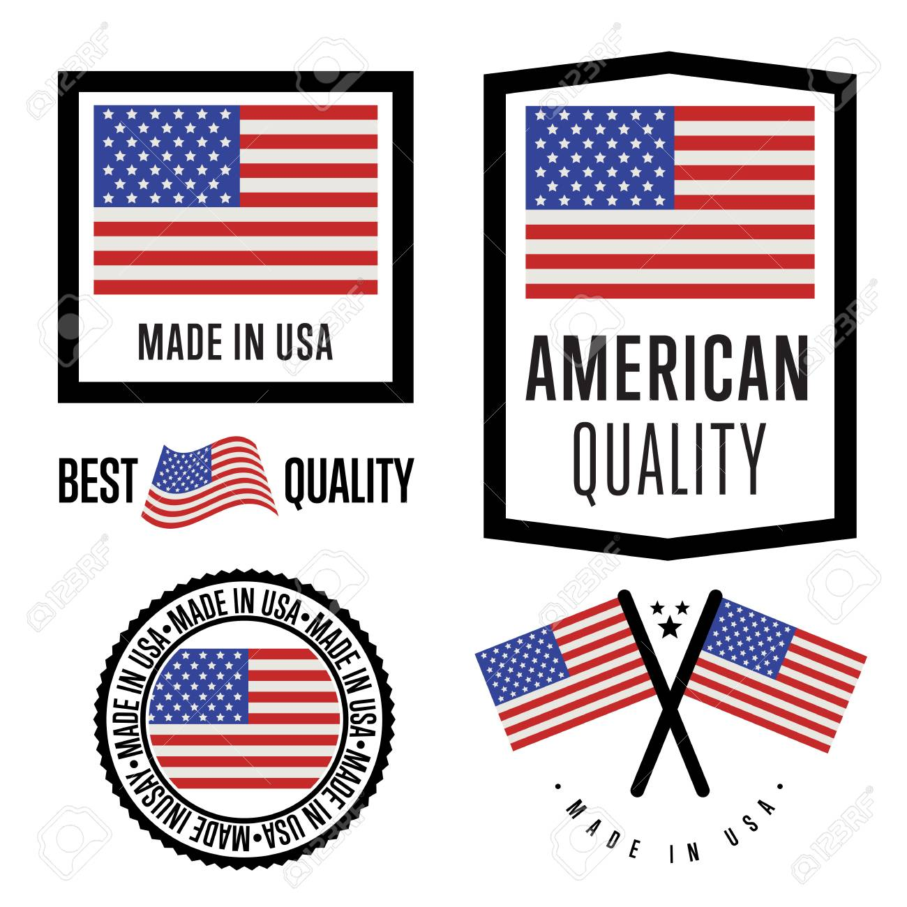 Made In Usa Label Set Vector Usa Flag Symbol Of Quality