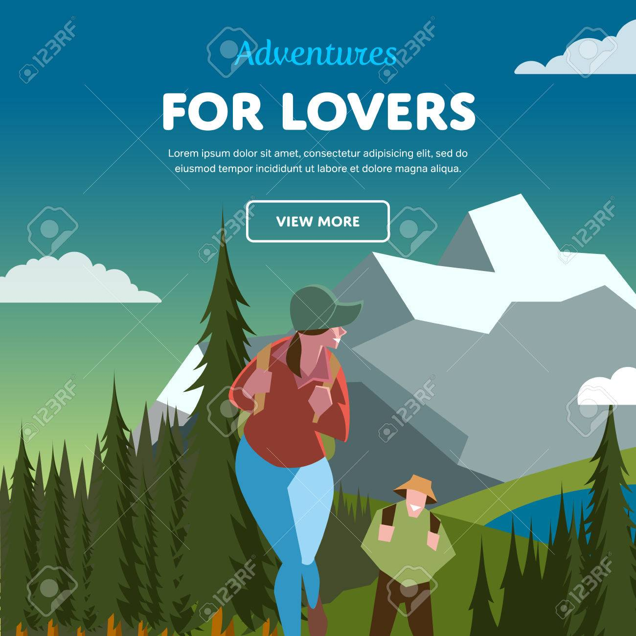 Hiking concept vector illustration. Couple of outdoor adventure. Backpacker in forest. - 55452450