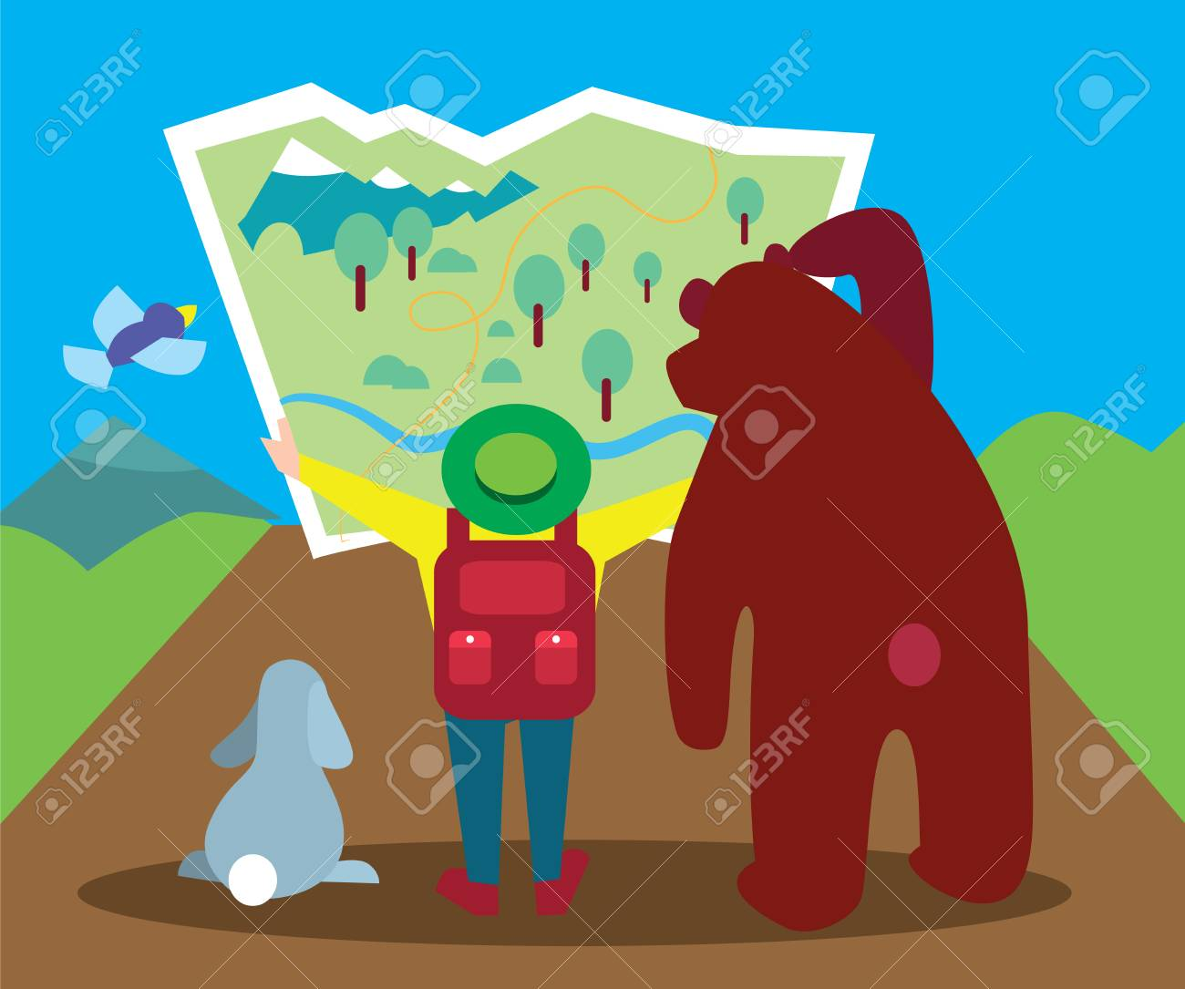 La Gente Está Buscando El Camino, A Pie En El Bosque, Caminar Por La ...