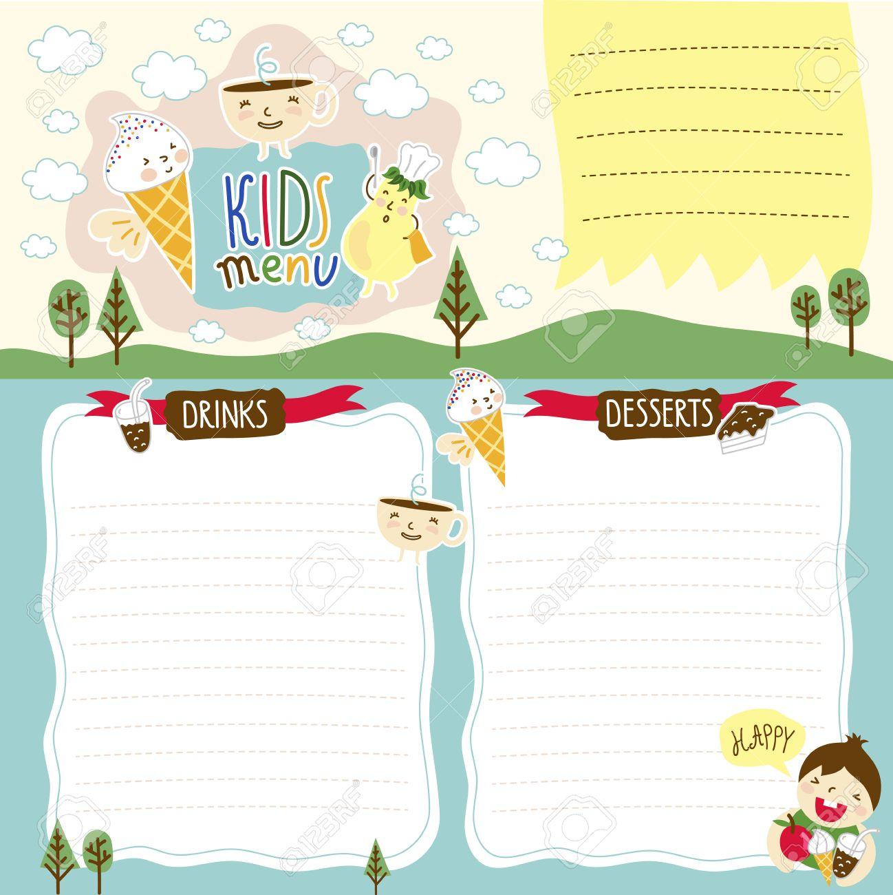 Plantilla De Mapa De Bits Menú Para Niños, Diseño De Dibujos ...