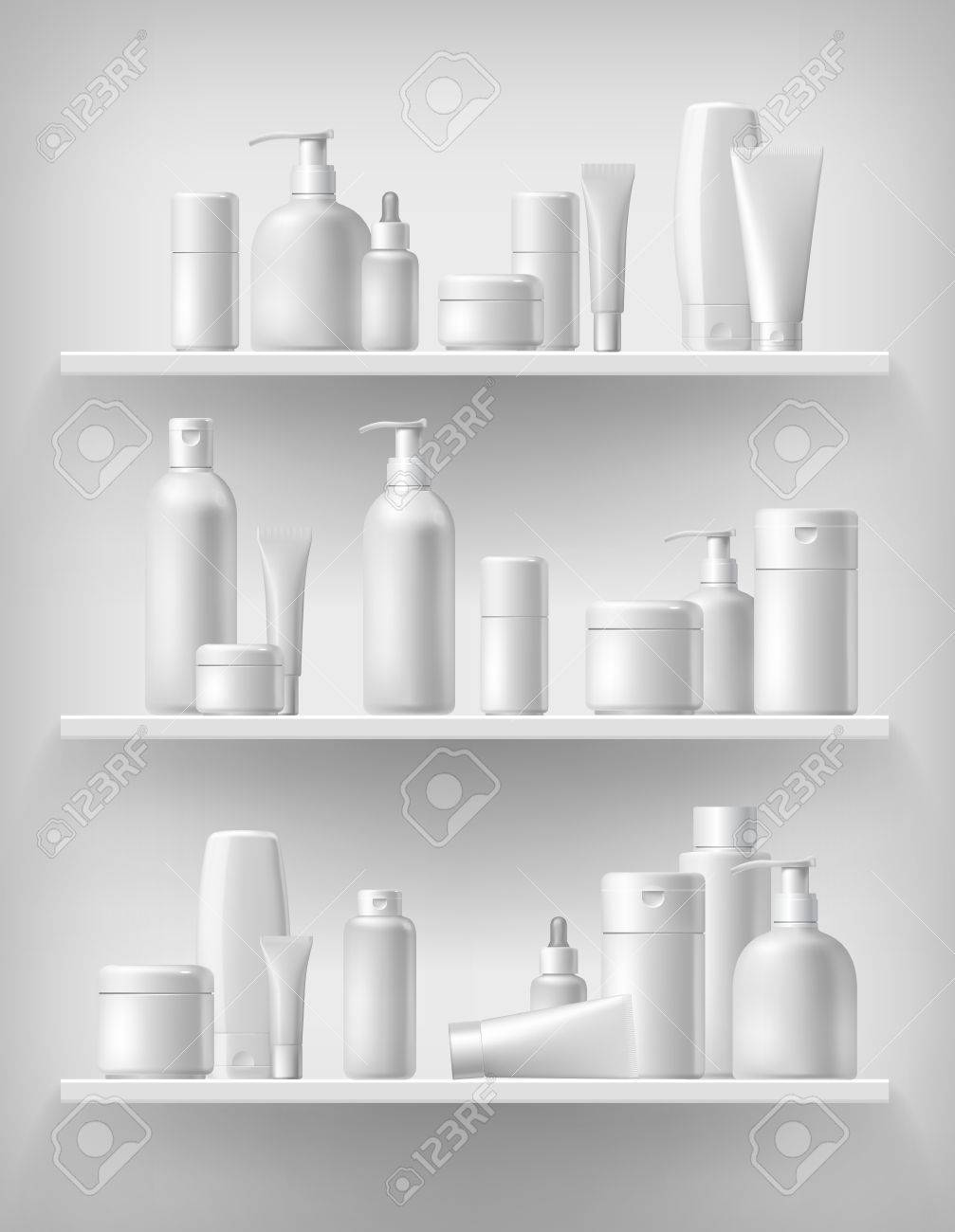 Cosmetic brand template. Vector packaging. Oil, lotion, shampoo. Realistic bottle mock up set. Isolated pack on the shelf. - 56560663