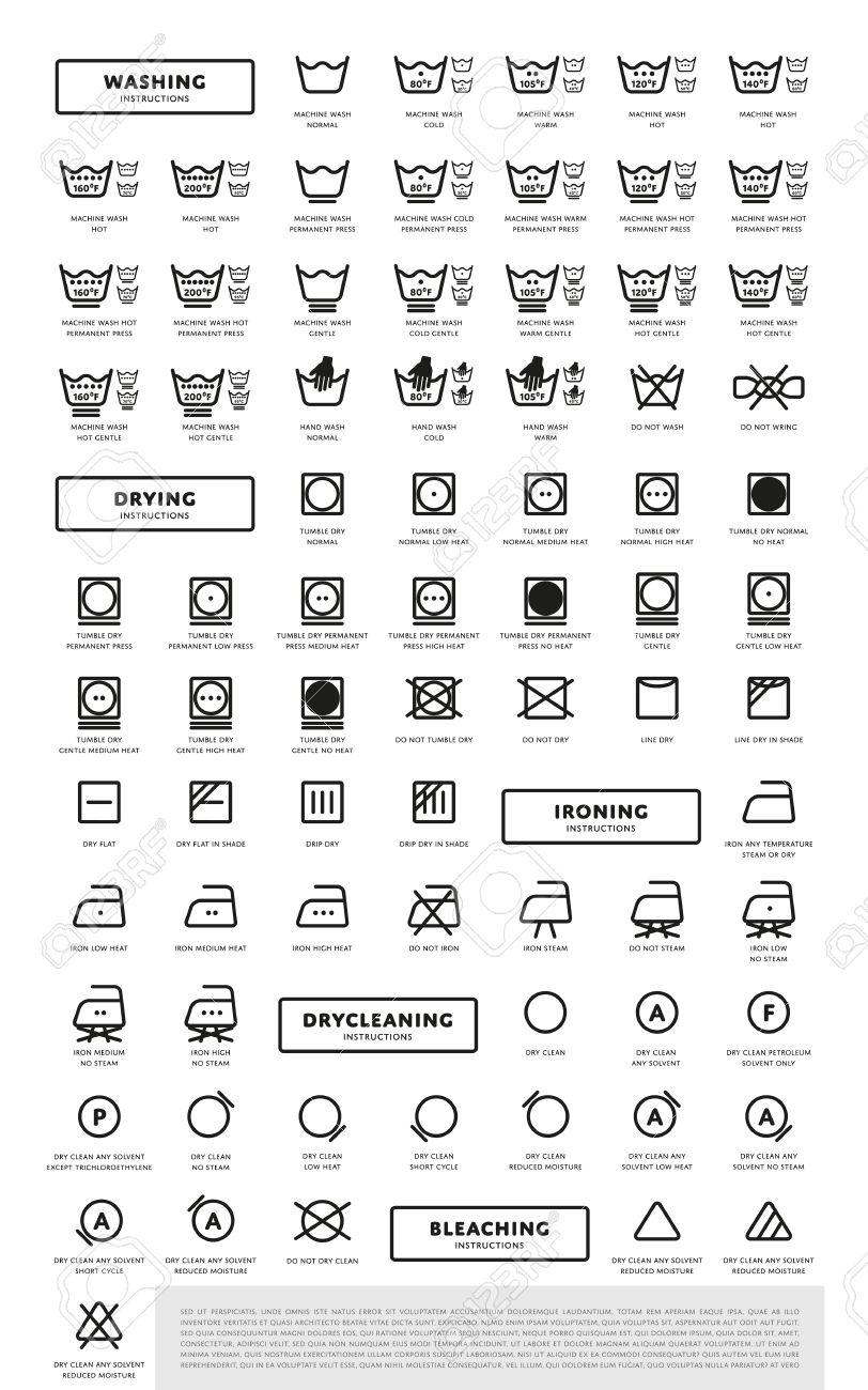 Laundry Washing Symbols Icon Set Royalty Free Cliparts Vectors And