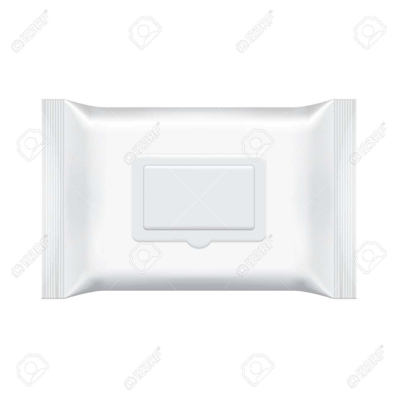 blank packaging wet wipes isolated on white background foil