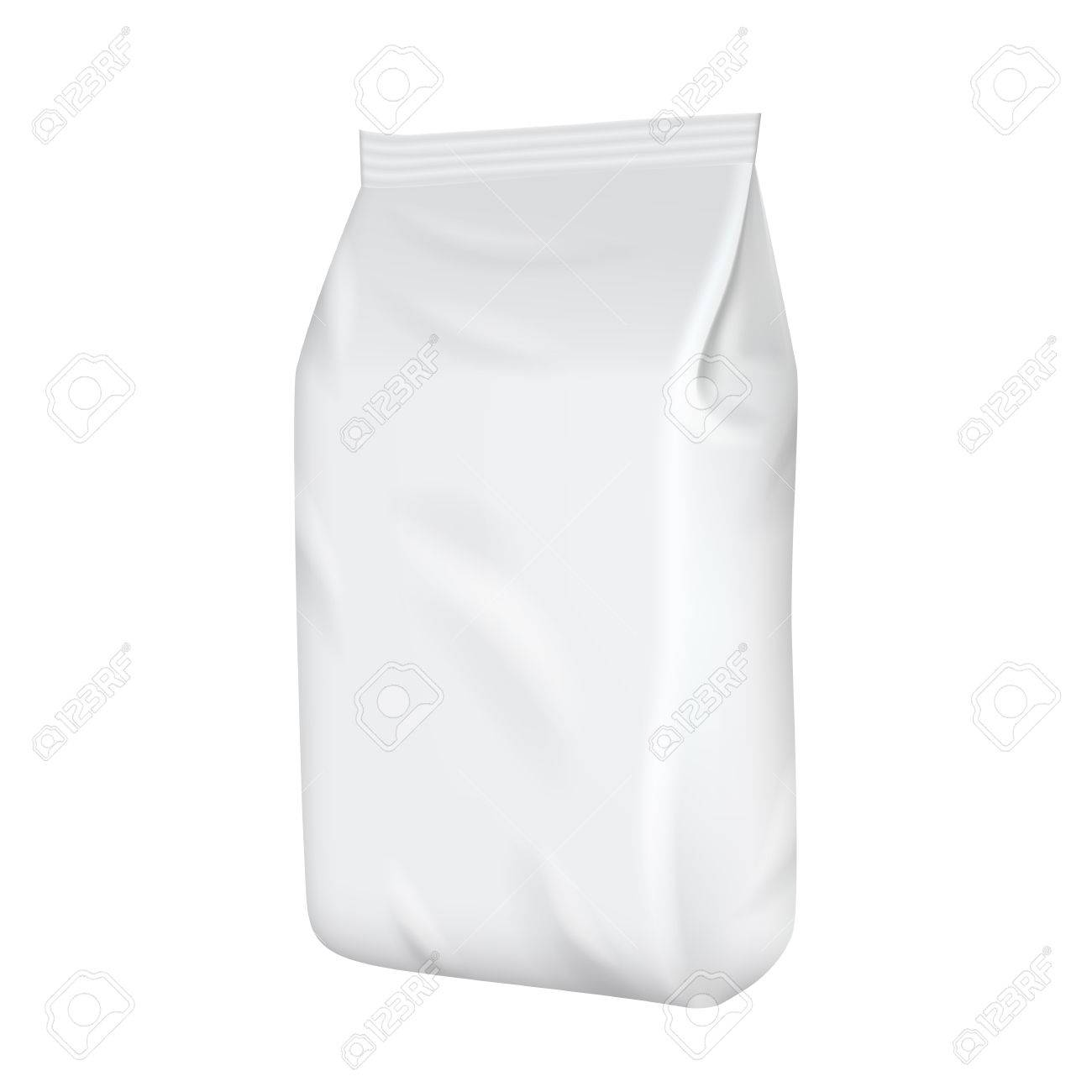 Blank packaging isolated on white background. Foil food snack bag for coffee, chips. Package template. Realistic 3d mockup. Plastic pack template. Ready for design. Vector illustration. - 57190656