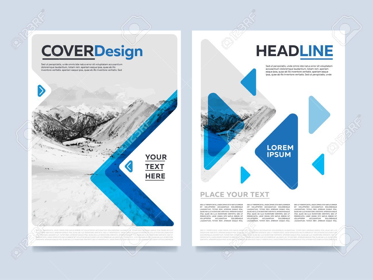 brochure cover presentation design template vector. blue annual, Powerpoint templates