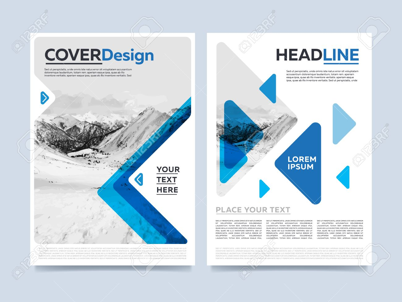 Brochure cover presentation design template vector. Blue annual report abstract flat background. Leaflet layout. Corporate document. Business booklet concept. - 58662388