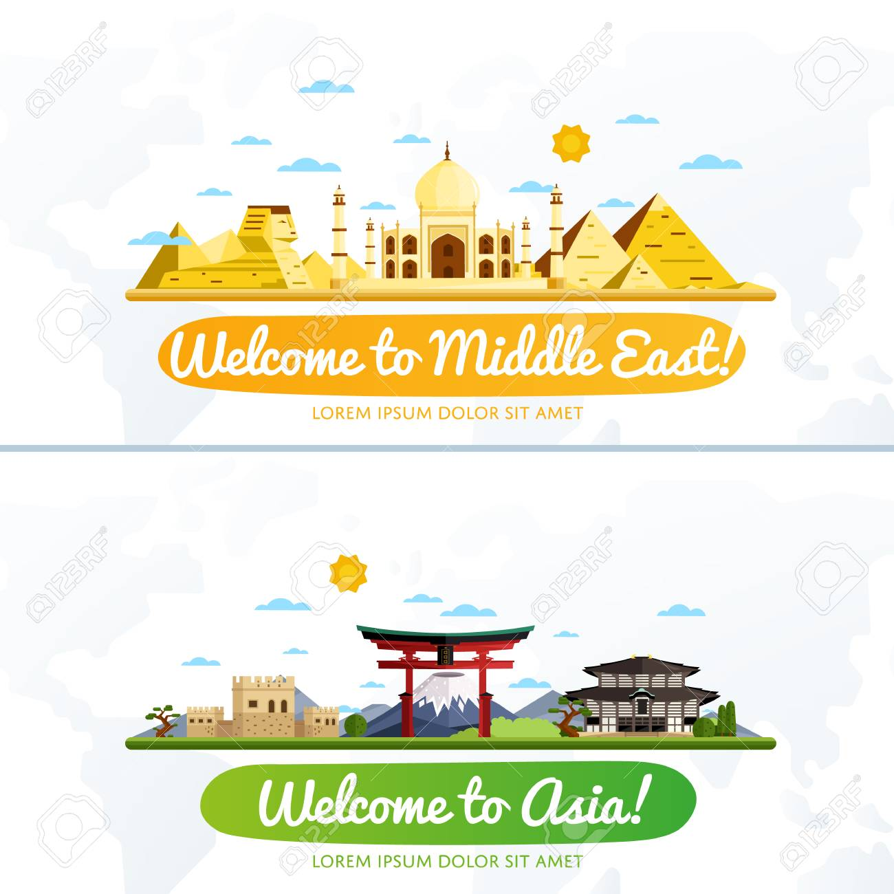 Welcome to Middle East and Asia, travel on the world concept, traveling flat vector illustration. - 58662389