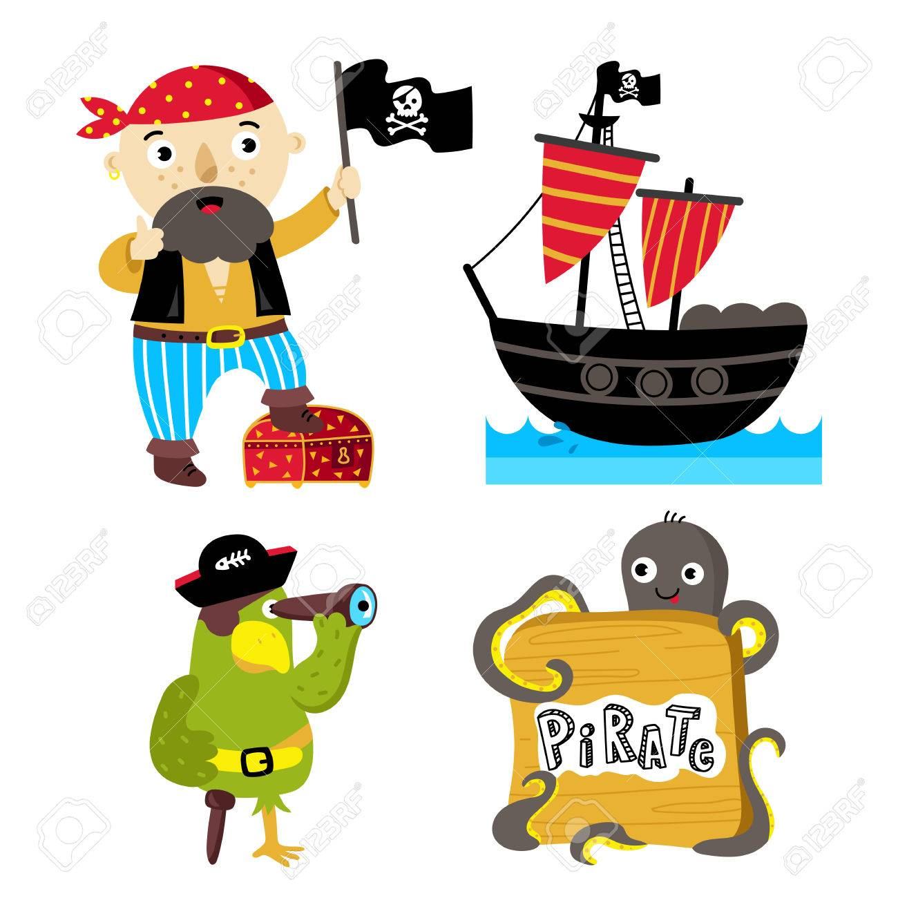 海賊ベクトルかわいい面白いイラスト白背景に分離されました。海犬漫画