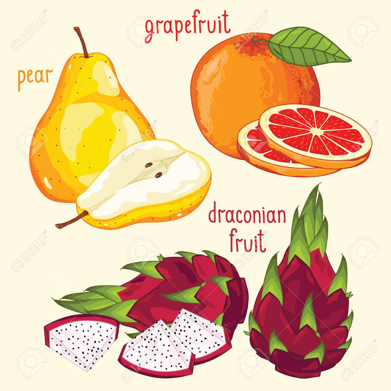 Set Of Fruit Mix Vector Isolated Healthy Eat Dragon Fruit, Pear And  Grapefruit Set Of How To Prepare Fresh Lychee Fruit