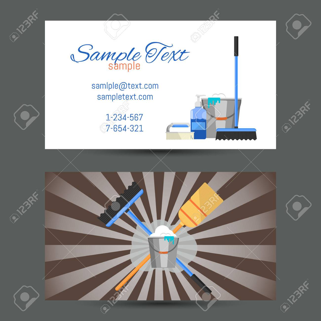 Business Card Template Of Cleaning Service Vector Illustration ...