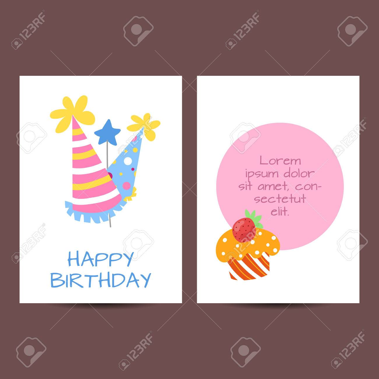 Happy Birthday Kids Postcard Template Vector Holiday Illustration Stock  Vector   60230789