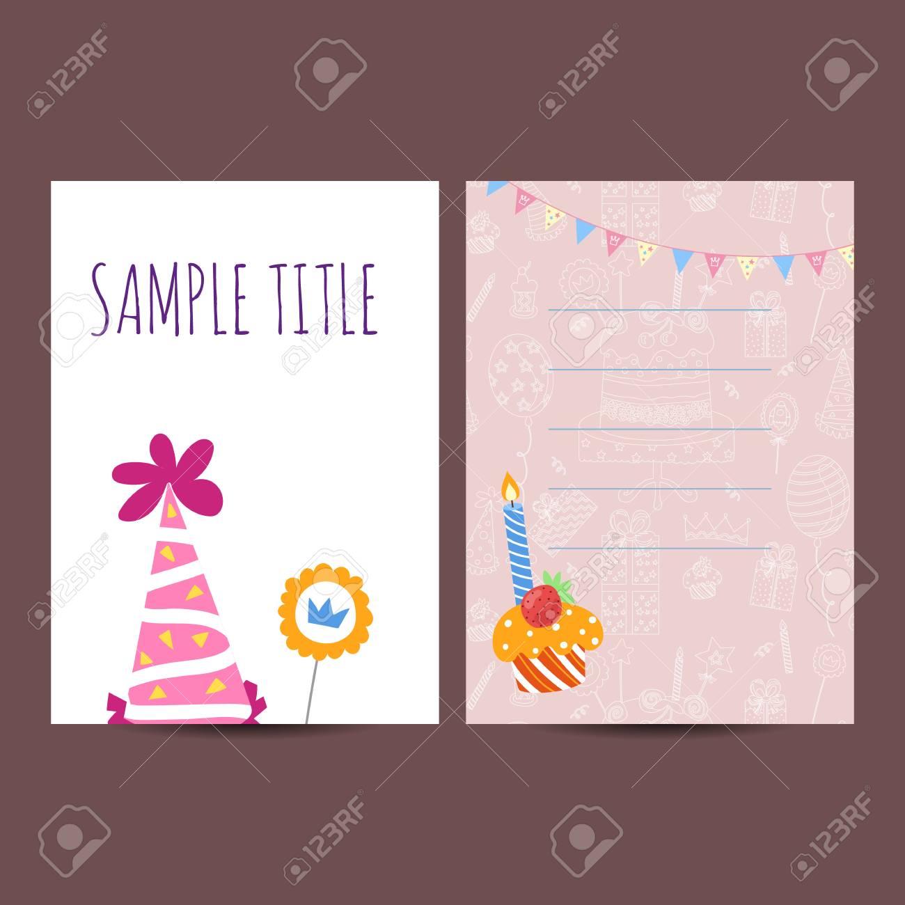 Joyeux Anniversaire Enfants Modele Carte Postale Vecteur Illustration Jour Ferie Banque D Images Et Photos Libres De Droits Image 61264076