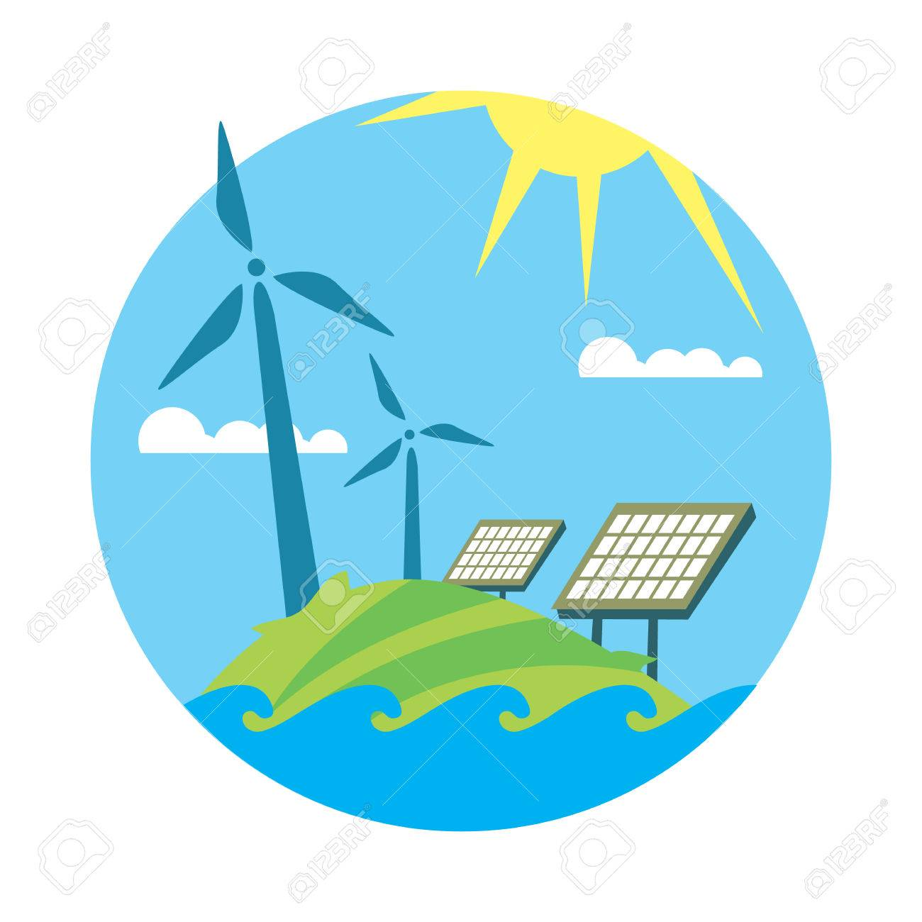 renewable energy round vector illustration wind turbines and rh 123rf com Free Sun Graphics Sunshine Vector Free
