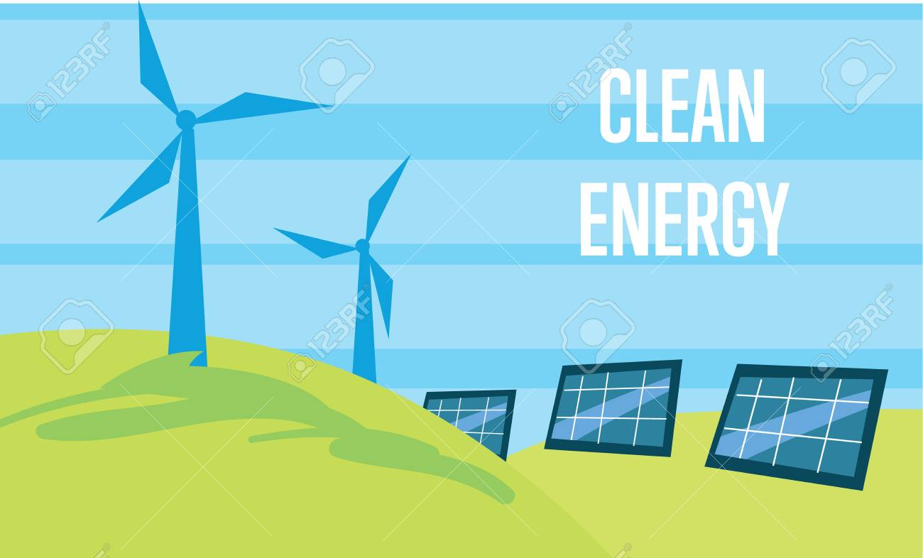 Clean energy vector illustration  Power plant using renewable