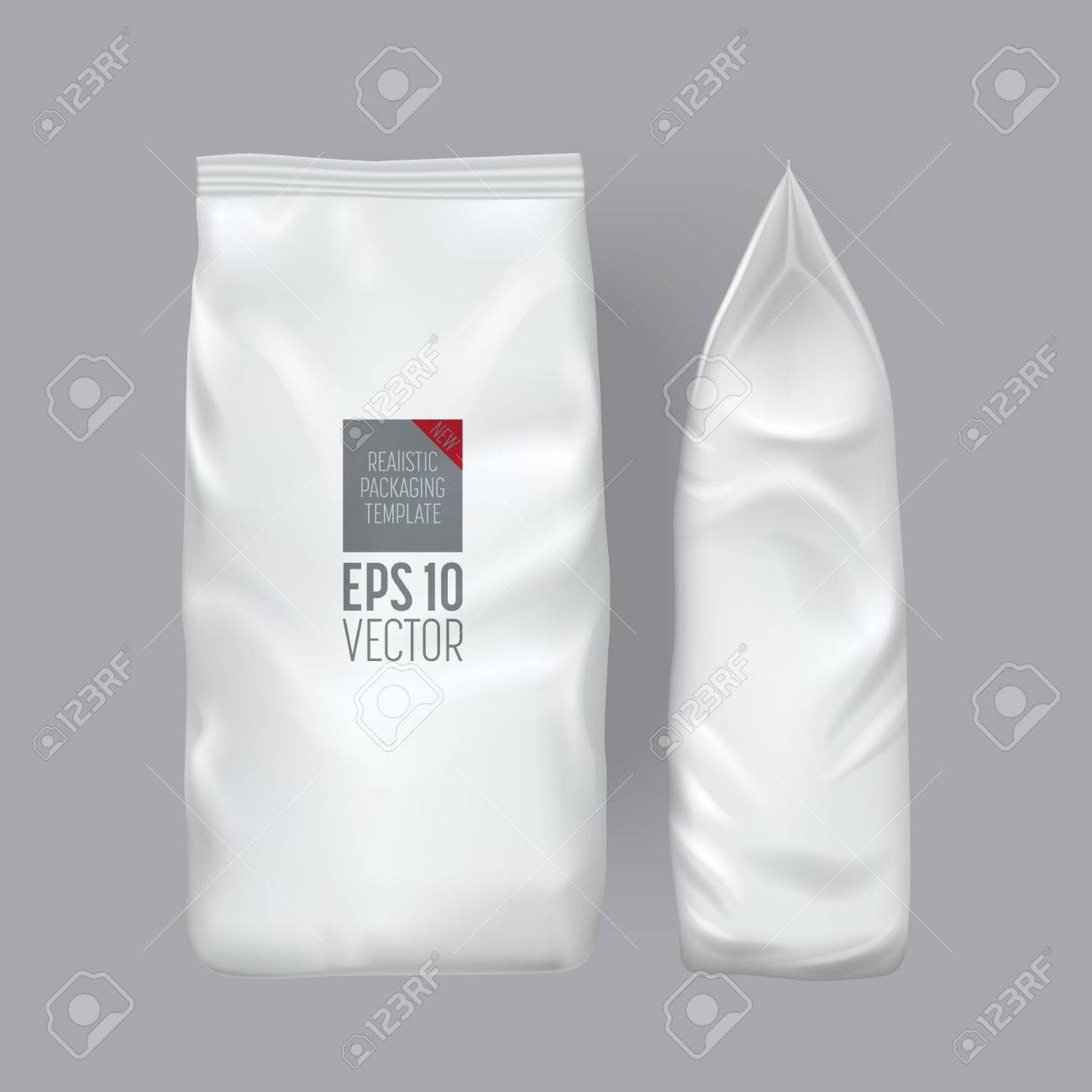 Blank packaging isolated on grey background. Foil food snack bag for coffee, chips. Package template. Realistic 3d mockup. Plastic pack template. Ready for design. Vector illustration. - 64158256